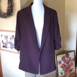 H&M size 18 Eggplant Long Open Blazer LINED $69NEW